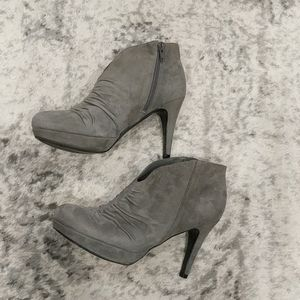 Marc Fisher gray platform suede boots